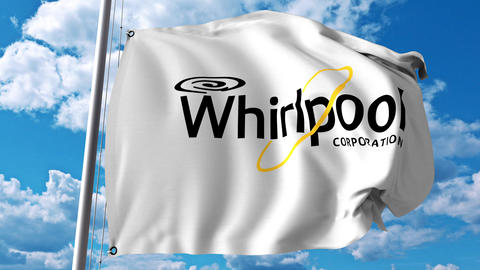 Waving flag with Whirlpool Corporation logo. 4K editorial animation Live Action