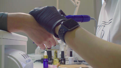 Professional hardware manicure using electric machine Live Action