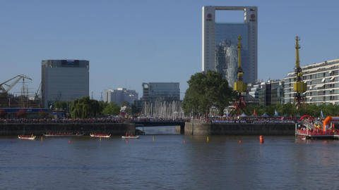 Dragon boats finishing line pier Footage
