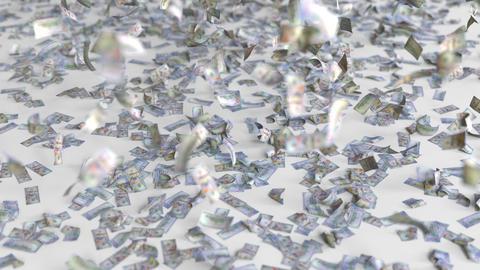 Hundred dollar bills fall on the floor. 3D animation Footage