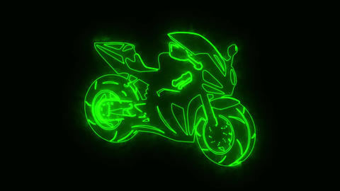 Green Burning Race Moto Bike Logo with Reveal Effect Animation