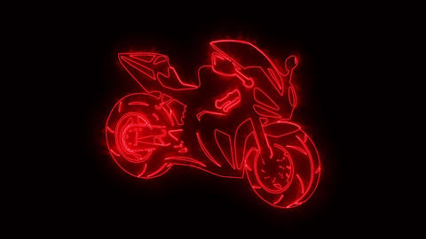 Red Burning Race Moto Bike Logo Loopable Graphic Element Animation
