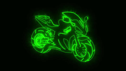 Green Burning Race Moto Bike Logo Loopable Graphic Element CG動画素材