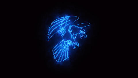 Blue Burning Eagle Logo Element with Reveal Effect CG動画素材