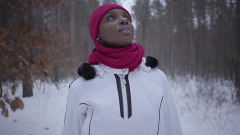 African american girl walking in winter forest looking up. Beautiful girl in Footage