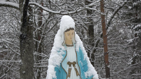 Snowy blessed Virgin Mary primitive sculpture in old cemetery Live Action