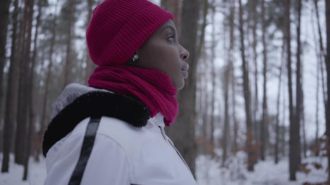 African american girl standing in winter forest looking straight. Beautiful girl Footage