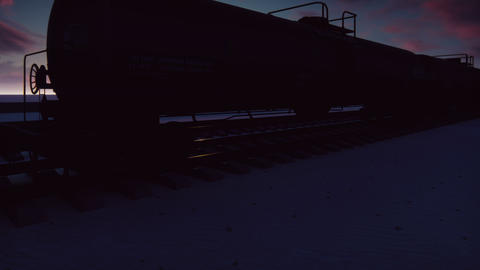 The camera flies past the railroad with cisterns passing through it with oil at Animation