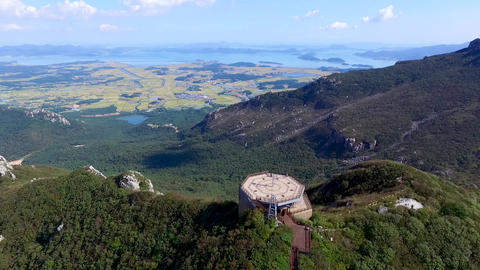 Aerial View of Duryunsan Mountain, Haenam, Jeollanamdo, South Korea, Asia Footage
