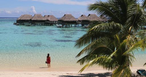 Tahiti luxuy travel resort overwater bungalow hotel in idyllic holiday Live Action