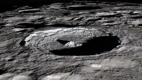 Camera flies around a craters in the south pole of the Moon. Elements of this Animation