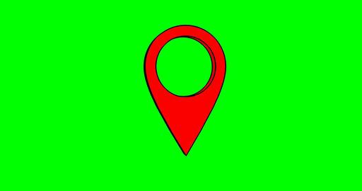 Pin geo location isolated icon logo. Chroma key green screen Footage