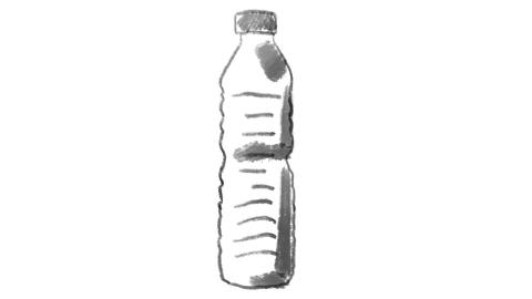 disposable plastic bottle, drawn on white chalkboard, footage ideal for ビデオ
