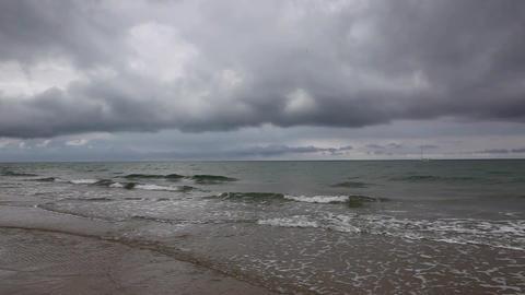 On the beach in Skagen after heavy rain, Denmark ビデオ