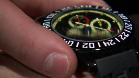 Extreme close up of man adjusting the watch on his wrist Footage