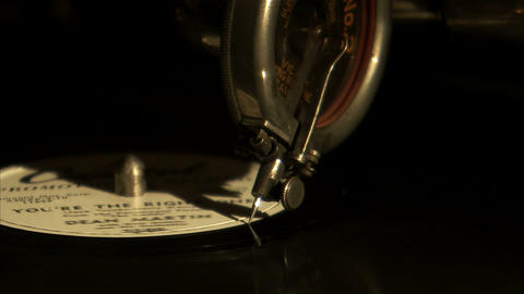 Close up of a record needle coming to an end Footage