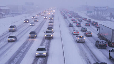 Shot of traffic in winter storm Footage