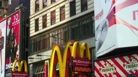Panning shot of signs in Times Square New York City Footage