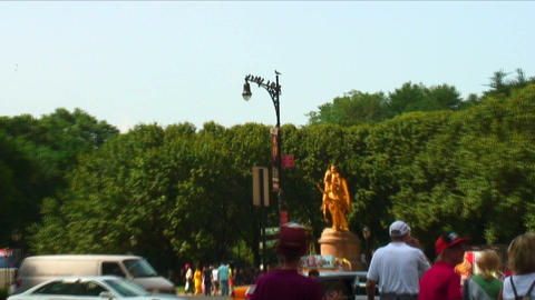 Zoom out from a lamppost on the border of Central Park NYC Footage