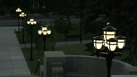 Lamp posts leading down the stairs of the Utah Capitol Building Footage