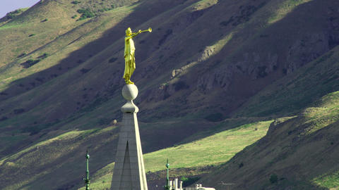 The statue of Angel Moroni on top of the LDS Salt Lake Temple Footage