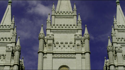Tilt up the face of Salt Lake City Mormon temple Footage