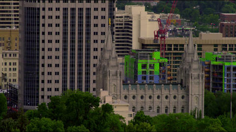 Panning shot of downtown Salt Lake city and Temple Square Footage