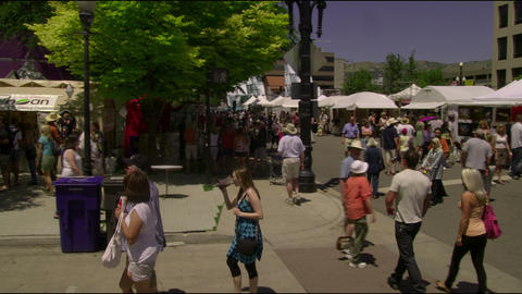 Shot of people at a farmer's market in Salt Lake City Utah Footage