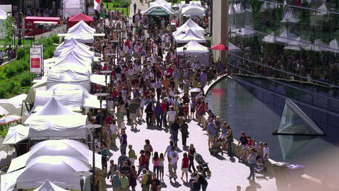SALT LAKE CITY-C.2012 Crowds at a fair on public library grounds in Salt Lake Ci Footage