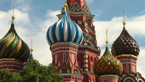 Time-lapse of the top of St. Basil's Cathedral Moscow Footage