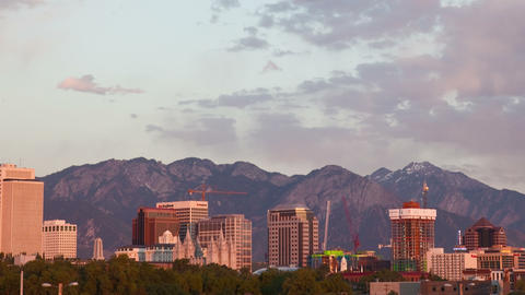 Time-lapse of the Salt Lake City skyline at sunset Footage