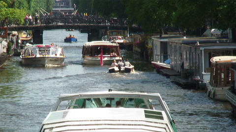 Boat traffic on a river in Europe Footage
