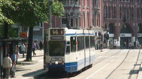 Tram coming towards the camera in Amsterdam Footage