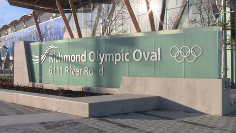 Sign for the Richmond Olympic Oval in Vancouver, Canada Footage