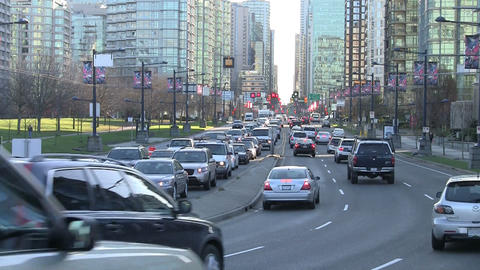Traffic in downtown Vancouver Live Action