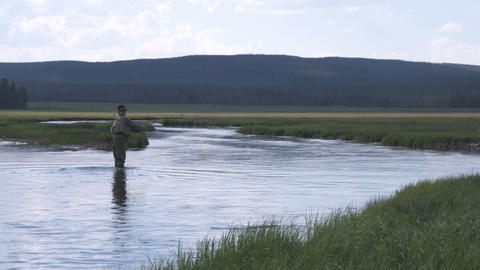 Shot of a man fly fishing in a stream Footage