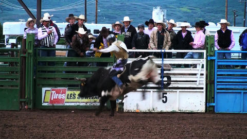 Shot of a bull rider competing at a rodeo in Utah Footage