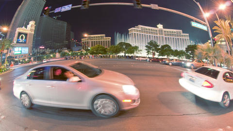 Sped-up dolly shot of Las Vegas night life Footage