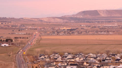 Time-lapse shot of traffic along the highway at the Utah valley Footage