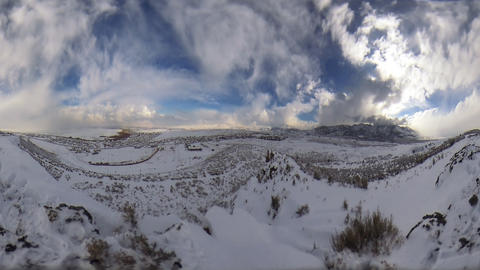Time-lapse fisheye shot of winter landscape at Utah valley with lens flare Footage