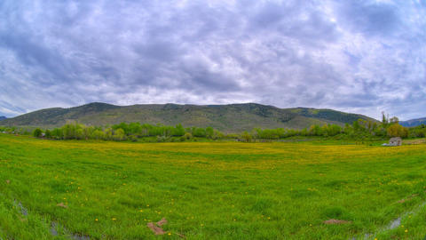 Wide time-lapse shot of a ranch in Utah Footage