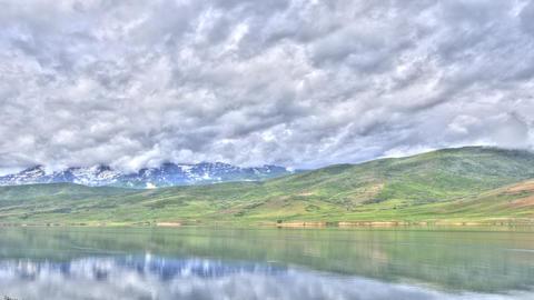 Wide static shot of Deer Creek Lake, Utah Footage