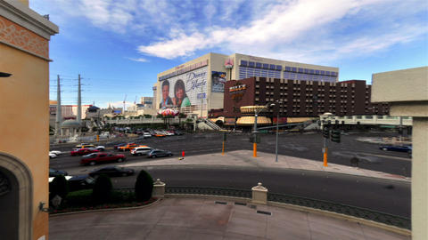 Time-lapse shot of a busy intersection near The Flamingo in Las Vegas Footage