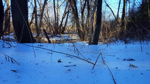 River With Snow Bank in Winter With Traffic in the... Stock Video Footage