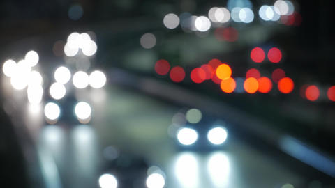 Bokeh from car light on the traffic road Live Action