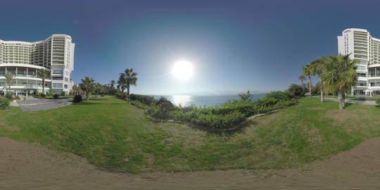 360 VR Hotel overlooking the sea with bright sunshine. Antalya, Turkey Live Action