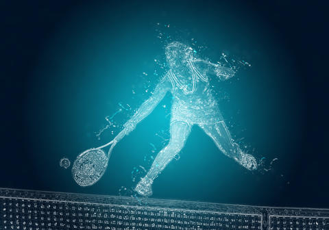 Abstract tennis player in action. Crystal ice effect Photo