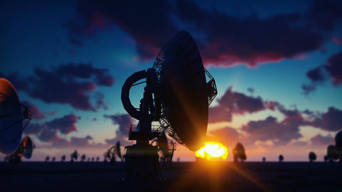 Large Array Radio Telescope. Time-lapse of a radio telescope in desert at Animation