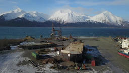 Mountains in the background at Alaska shipyard ビデオ