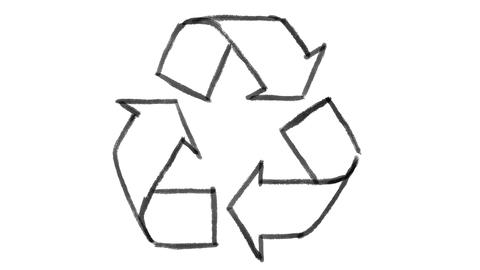 recycle symbol drawn on white chalkboard, footage ideal for representing ecology GIF
